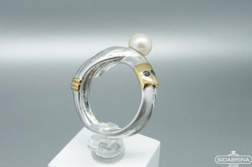 Žiedas su perlu ir safyrais