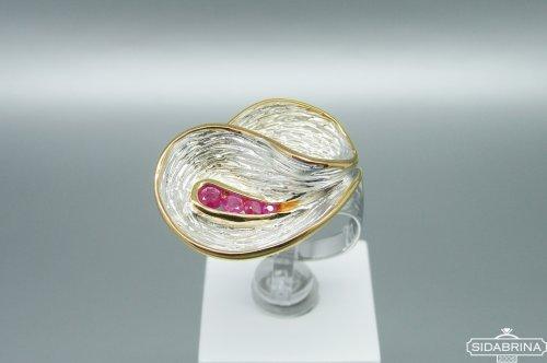 Žiedas su rožiniais safyrais