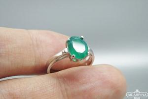 Žiedas su žaliu agatu - ZDM1316